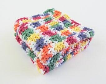 Crochet 2 Set Washcloth or Dishcloth in Bright Colors