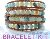 wrap bracelet kit with blue green amazonite beads: DIY KIT supplies & tutorial