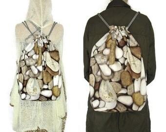 Handmade Grey Drawstring  Backpack / Hipster backpack /  STONES Drawstring Backpack / NATURAL  Backpack / stone