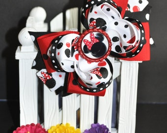 Red Minnie Mouse Cute bow for babies, toddlers and big girls ~ Bow measures approximately 5.5 inches