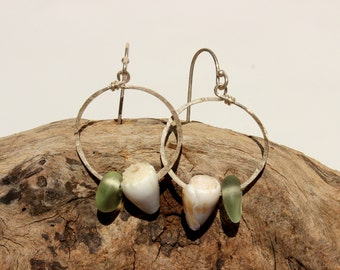 Hawaiian Small Aqua Blue Teal Beach Glass with Gorgeous Cone Snail Shells on Hammered 925 Sterling Silver Circular Wire Small Hoop Earrings
