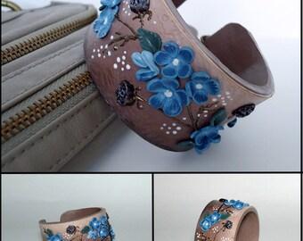 Flower bracelet, polymer clay  bracelet, brown and blue color, leather emitation