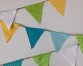 Mini flag fabric banner, Extra long, Garland, Bunting, Yellow, Green, Turquoise, Aqua,