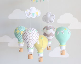 Gender Neutral Baby Mobile, Hot Air Balloon, Travel Theme, Nursery Decor, Aqua, Yellow, Grey, i87
