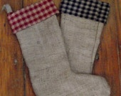 primitive burlap and homespun stockings lined.