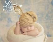 Easter Crochet Baby Girl Boy Bunny Rabbit Floppy Ears Photo Prop Hat Made to Order - Buff & Aran