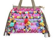 Hmong Shoulder Bag With Leather Strap Embroidered Fabric Thailand (BG141SL-BRPUR)