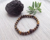 Aromatherapy Essential Oil Bracelet, Brown Tigers Eye, Lava Stone Beaded Bracelet, Natural Remedies, Lavender Eucalyptus