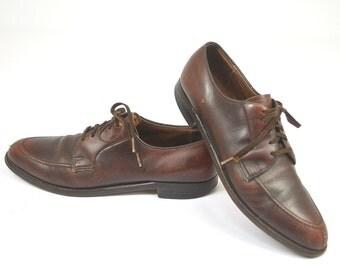 SALE Vintage ET Wright Rich Brown Rockabilly Slpit Toe Lace Up Dress Shoes, 10 AAA