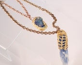 Blue Kyanite and Blue Azurite wrapped in Gold Resin Mesh- Double Chain Necklace-Statement Necklace
