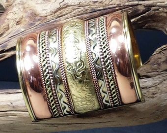 Vintage  Copper Gold and Silver Tone Embossed Egyptian Style Cuff Bracelet