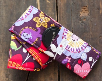 DSLR Camera Strap Cover- lens cap pocket and padding included- Whimsical Garden