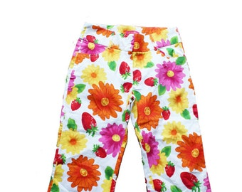 Vintage Bold Floral Cropped Trousers - High Waist  - Floral Nineties Kitsch- Printed Trousers -Hippie Pants