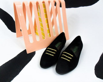 90s Black Suede Gold Chain Mini Stacked Heel Loafers / Flats / Leather / Size 7 / Rope /