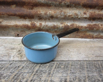 REDUCED Vintage Metal Enameled Kitchen Cooking Pot Blue and Black Country Rustic Kitchen Decor Enameled Kitchenware Primitive Old Fashion