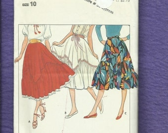 Vintage 1980's Butterick 4212 Western Flared Skirt with Kerchief & Ruffled Tier Size 10 UNCUT
