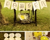 EASTER Printable Set - Shabby Chic, Rustic Country Style. Includes Cupcake Toppers, Favor Tags, Banner, Party Sign and more