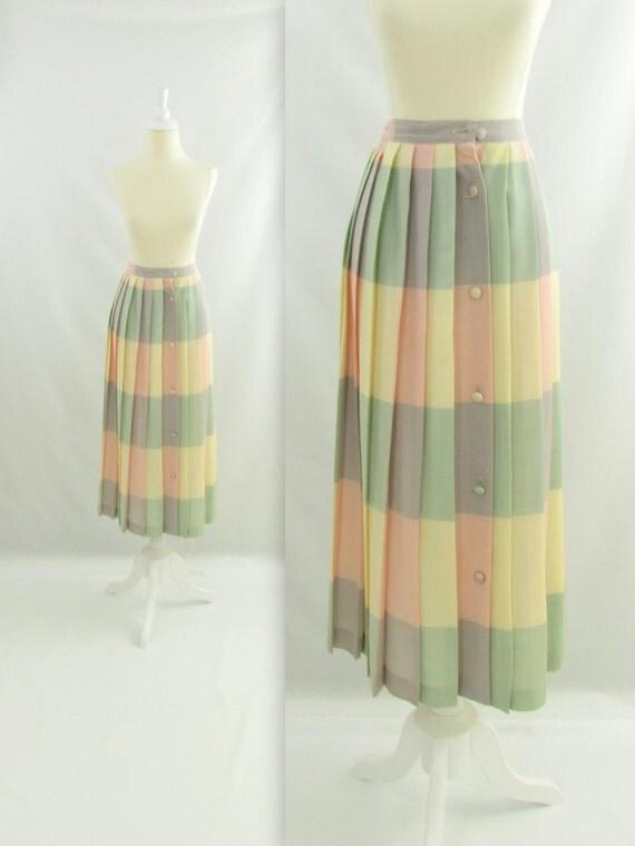 pastel rainbow skirt vintage 1980s pleated midi skirt