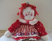 "Vintage Primitive Raggedy Ann Doll Handmade 1970's Red  Hair and Dress 20"" Tall Sweet Handcrafted Charming Cloth Doll"