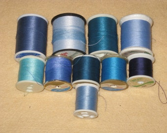 Vintage Sewing Thread  10 Spools Shades of BLUE Cotton Polyester
