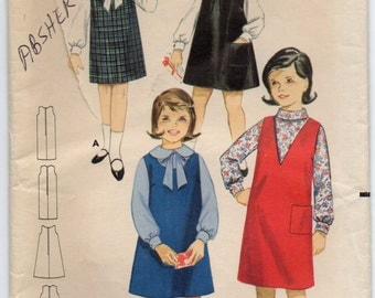 Straight Shift Or A Line Jumper Childrens Dress Girls Size 8 Used Sewing Pattern Butterick 3235