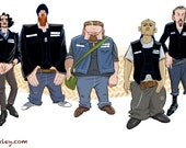 Sons of Anarchy animation parody, character lineup.
