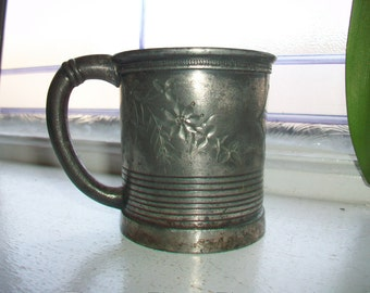 Antique Silver Plate Presentation Cup Mug 1800s Adelphi Silver Plate Co. Victorian Cup