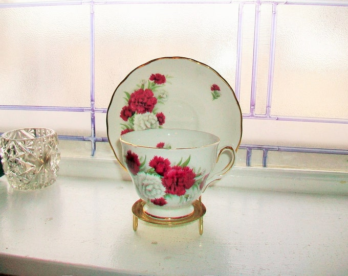Royal Vale Tea Cup and Saucer Red and White Flowers Vintage Bone China Made in England