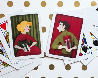Secret Santa Paper Cut Playing Cards (Set of Two)