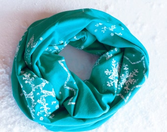Snowflake Infinity Scarf, Blue Infinity Scarf, Christmas Scarf, Winter Scarf, Holiday Scarf Teal Snowflake Scarf Teacher Gift for Her Womens