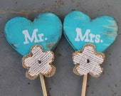 Distressed painted wood hearts wedding cake topper. Mr and Mrs. Burlap flowers