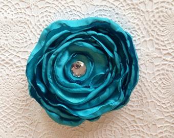 Turqoise hair clip, satin hair clip, satin flower clip, fabric flower, flower clip, wedding hair clip, bridesmaids clip