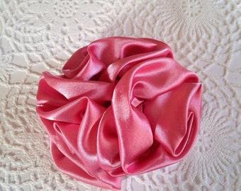 Pink satin hair clip, pink clip, satin clip, wedding hair clip, bridesmaids clip, party favor, satin bow, satin flower clip