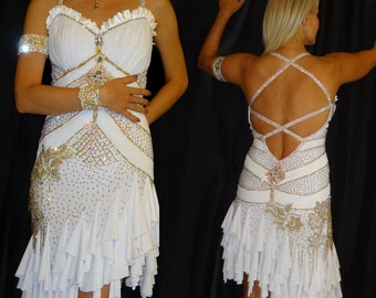 White and Gold Latin Dance Costume with Swarovski Stoning