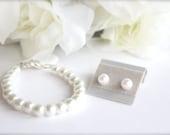Pearl Bracelet & Earrings Pearl Post Studs and Bracelet Set Flower Girl Gift, Jr Bridesmaid, Birthday, 1st Pearls -- FREE Gift Packaging