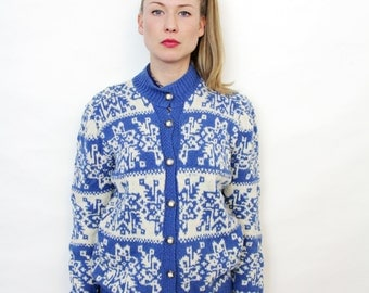Vintage Blue and White Nordic Pattern Hand Knit Cardigan Sweater