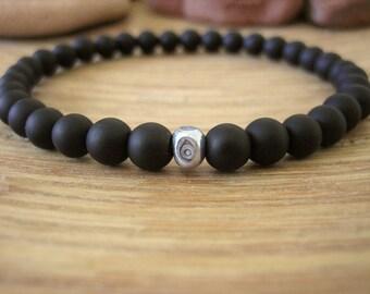 Mens Evil Eye Bracelet - Mens Black Bracelet with Fine Silver Bead, Matte Black Stone Beads, Minamalist Style