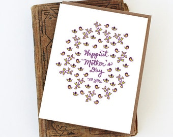 Happiest Mother's Day Card - Mother's Day Card, Happy Mother's Day lettering, Happiest Mother's Day to you