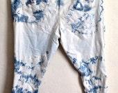 Bleached tie-dye skinny jeans women's plus size