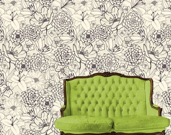 Removable Wallpaper-Just Sketched- Peel & Stick Self Adhesive Fabric Temporary Wallpaper-Repositionable-Reusable- FAST. EASY.