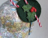 Christmas Candy Cane and Holly Hair Band Fascinator