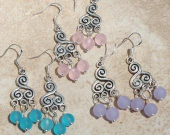 Earrings, Sea glass Dangle Earrings, 2 inches, sterling silver, Inarajewels