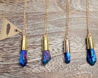 Blue Quartz Bullet Necklace