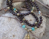 Nepal Pendant Beaded Mala Wood Beads Turquoise Beads Inlay Beads from Nepal Bohemian Gypsy Long Layering Necklace
