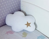 Toddler pillow - white cloud with gold glitter star