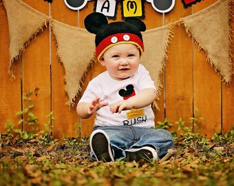 "Mickey Mouse Inspired High Chair Small ""I AM 1"" Birthday Banner"
