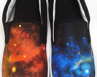 Custom Orange and Blue Galaxy Canvas Shoes