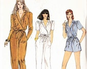 PATTERN Vogue 8216 Jumpsuit romper playsuit front wrap with collar bodice gathered to yoke short or long sleeves Size 12 (uncut)
