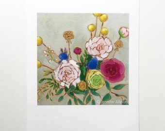 Floral art print abstract flower bouquet painting wall art  - A Bouquet for Kizzie