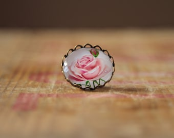 Pink rose brooch made from glass uk